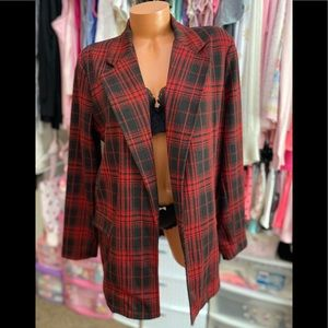 Wild Fable Red & Black Plaid Open-Front Oversized Blazer/Jacket Large
